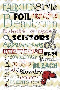 Hair Salon Printable Subway art, perfect for a Salon décor!