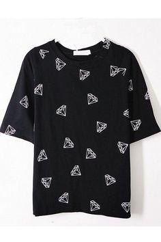 66eaa8a5cd2 Black Diamond Printing Loose Casual T-shirt