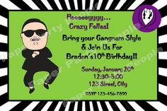Personalized DIY Gangnam Style Birthday Party by PaperPartyPeople