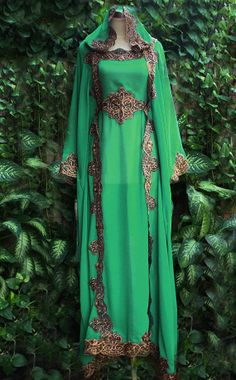 Cute Green leaf Moroccan Caftan Hoodie Sheer Chiffon Fancy FULL Gold Embroidery Abaya Dubai Maxi Dress farasha Hijab Style Jalabiya