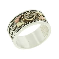 Harley-Davidson® Women's Sterling Silver Ring with Fleur-De-Lis Accents -