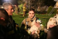 FIREFIGHTERS SAVE PUPPIES' LIVES  When a couple's one-room home erupted in flames, New Jersey's West Trenton Firefighters responded to the scene to save every living being in the household. All humans were able to escape without injury, but a large number of puppies   remained stuck in the basement. The firefighters were able to save 16 dogs from the smoke-filled area. Although one did not survive after being rescued, the remaining 15 puppies were successfully transported to a local veterina...