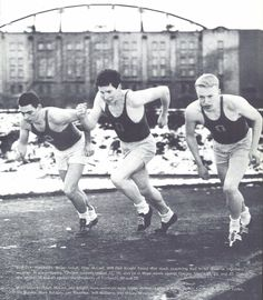 Cross country runners Roger Stoutt, Pete McCart, and Phil Knight train at Hayward Field after a snow storm in 1956. From the 1957 Oregana (University of Oregon yearbook). www.CampusAttic.com