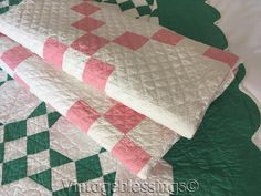 """Beautifully Quilted! Vintage 20s Pink & White Irish Chain QUILT 80"""" x 54 1/2"""""""