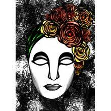 "Juliste ""Ruusuleidi, oranssit kukat/mustavalkoinen"" - A4, A3, 50x70cm Female, Portrait, Tattoos, Wall, Design, Tatuajes, Headshot Photography, Tattoo"
