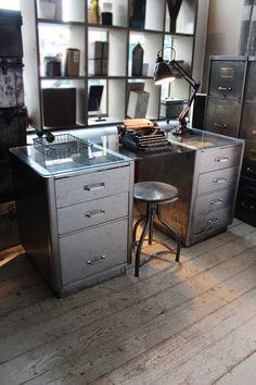 attic - Reconditioned Industrial Steel Desk -