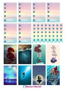 """sticker kit"" Little Mermaid Full Boxes (the happy planner by MAMBI) sticker. Free printable sticker layout may be subject to copyright not intended for retail; personal use only:"