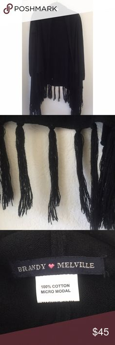 Brandy Melville Fringe Sweater Oversized sweater with fringe detailing on the bottom. Brandy Melville Sweaters Cardigans