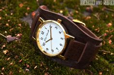 Leather watch  Cuff watch  Mens watch  Womens by LeatherAndStyle