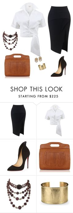 """Vicki's ideal look"" by vicki-sylvain ❤ liked on Polyvore featuring Maticevski, Michael Kors, Christian Louboutin, Flaska Laverne, Blue Nile and Givenchy"