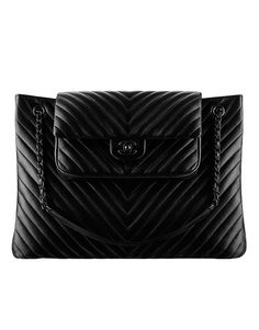Large calfskin chevron quilting... - CHANEL