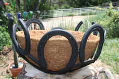 HORSE SHOE planter/ bowl add some chains to hang it Horseshoe Projects, Horseshoe Crafts, Horseshoe Art, Metal Projects, Metal Crafts, Horseshoe Ideas, Welding Crafts, Welding Art, Welding Projects