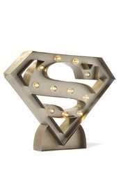 Be your favourite superhero with this Superman marquee light! <br> Hang it on your wall, sit it on your desk, put it anywhere, as it is battery operated and cord free! <br> Requires 2 x AA batteries - batteries not incuded. Superman Nursery, Superman Room, Boy Room, Kids Room, Superhero Room Decor, Superman Man Of Steel, Apartment Balcony Decorating, Marquee Lights, Light Project