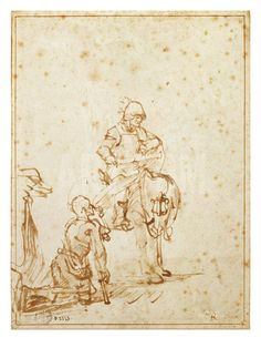 St. Martin and the Beggar (Pen and Ink on Paper) Giclee Print by Rembrandt van Rijn at Art.com