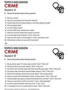 Crime- Speaking questions