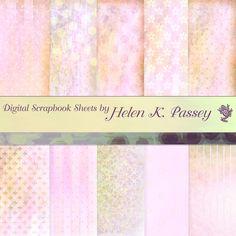 Digital Scrapbook Paper Set Pastel Pink by VagrantAirs on Etsy