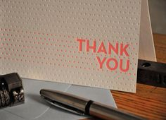 Polka Dots Folded Letterpress Thank you Card - 6 Pack