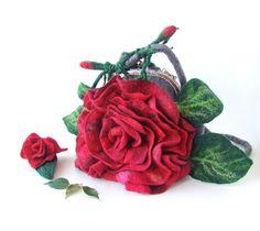 Felted handbag flower Red Rosa flower valentines gift by galafilc