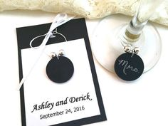 Personalized Wedding Wine Glass Charm Favors, Chalkboard Wine Charms Wedding Favors, Personalized Wedding Favors, Chalk Board Wine Glass Tag by AtHomeWithWords on Etsy https://www.etsy.com/listing/511223193/personalized-wedding-wine-glass-charm