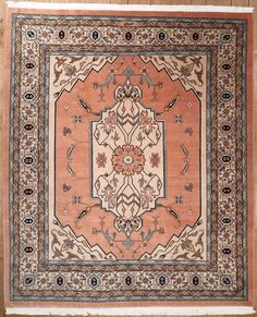 This beautiful Handmade Knotted Rectangular rug is approximately 8 x 9 New Contemporary area rug from our large collection of handmade area rugs with Persian Tabriz style from Pakistan with Wool