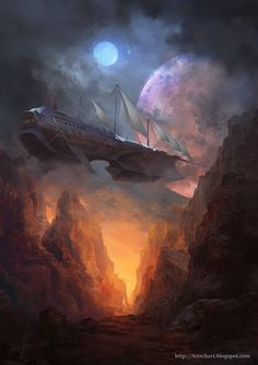 Viktor Fetsch is a conceptual illustrator born in Kazakhstan and raised in Germany. He created fantasy illustrations for card games and cover art for Space Fantasy, Fantasy Concept Art, Fantasy Artwork, Fantasy World, Arte Steampunk, Steampunk Airship, Dieselpunk, Dirigible Steampunk, Arte Peculiar