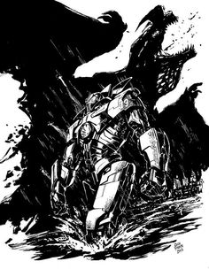 "Pacific Rim ""Gipsy Danger vs. Otachi"" ink drawing"