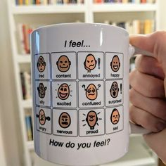 How do you feel today? Thanks so much, Teaching Differently for sharing this great picture of our Boardmaker mug! Behavior Plans, Kids Behavior, Behavior Charts, Teacher Christmas Gifts, Teacher Gifts, Teacher Binder, Autism Crafts, Early Intervention Program, Environmental Print