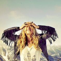 Boho chic feather print top with modern hippie retro fringe leather jacket & gypsy stacked rings. FOLLOW http://www.pinterest.com/happygolicky/the-best-boho-chic-fashion-bohemian-jewelry-gypsy-/ for the BEST Bohemian fashion trends in clothing & jewelry.