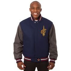 NBA Cleveland Cavaliers JH Design Domestic Two-Tone Wool Jacket - Navy