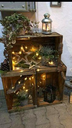 Christmas Wood Crafts, Christmas Porch, Outdoor Christmas Decorations, Country Christmas, Christmas Time, Seasonal Decor, Fall Decor, Holiday Decor, Deco Table Noel
