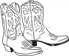free cowboy boot outline clip art western theme cowboy boots b rh pinterest com cowboy boots clipart black and white cowboy boots clip art free