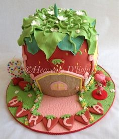 """This was a 7 layered buttercake with vanilla bean buttercream. """" Vanilla bean buttercream plus buttercake, it's the best cake, no artifi. Strawberry Shortcake Birthday Cake, Vintage Strawberry Shortcake, Fondant Cakes, Cupcake Cakes, Cupcakes, Valentine Cake, Cake Shop, Celebration Cakes, Party Cakes"""