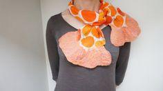 Orange nuno felt wool scarflette shawl wrap scarf by feltinga, $25.00
