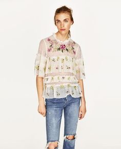 Image 2 of EMBROIDERED TULLE BLOUSE from Zara