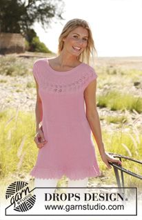 "Knitted DROPS tunic worked sideways in garter st with lace pattern in ""Safran"". Size: S - XXXL ~ DROPS Design"