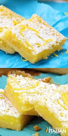Easy Lemon Bars are my go-to lemon dessert recipe. These mouthwatering lemon bars are bright and vibrant, they are utterly delicious. The creamy texture and lemony flavor makes these a crowd favorite! Easy prep, easy cleanup and gone in a snap. My perfect Quick Dessert Recipes, Easy Desserts, Cookie Recipes, Healthy Lemon Desserts, Easy Recipes, Sweet Desserts, Recipes For Lemons, Desserts With Lemon, Dessert Recipe Video