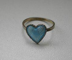 Norwegian Ivar T Holth Sterling 925 Blue Enamel Heart Child's Ring Kids Rings, Heart For Kids, Enamel Jewelry, Scandinavian, Gemstone Rings, Child, Inspire, Turquoise, Blue