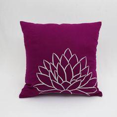 Purple Flower Decorative Pillow Cover Dark Purple Linen