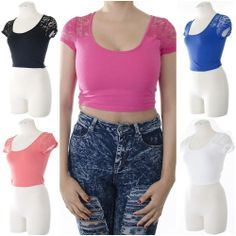 ebclo - Basic Short Sleeve Round Neckline Casual Crop Top Lace Detail NEW $9.00 Free Domestic Shipping
