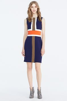 Artful colorblocking brings together the season's menswear-inspired palette on this jersey sheath with great stretch. With an invisible back zip.