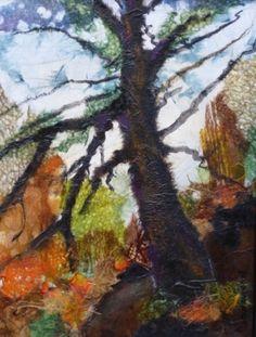 "Roxsane K. Tiernan   Member of the MyArtClub.Com Art Community   The Hobbit Tree $495.00 Framed 13.5""x 10.5"". Chigiri-e on Canvas"