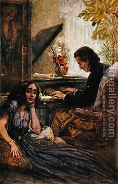 Adolf Karpellus:Postcard depicting George Sand listening to Frederic Chopin play the piano Sand Painting, Painting Frames, Frederick Chopin, Best Classical Music, Piano, George Sand, Most Famous Paintings, Music Images, Oil Painting Reproductions