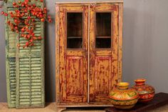 Vintage Red & Gold distressed cabinet