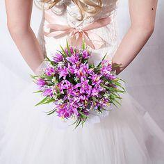 Lovely Round Shape Purple Wedding Bridal Bouquet - USD $ 19.99