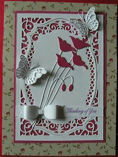 Thinking of You. Inspired by Murphy Millie by: dippydog Butterfly Cards, Flower Cards, Memory Box Cards, Poppy Cards, Spellbinders Cards, Birthday Cards For Women, Beautiful Handmade Cards, Marianne Design, Pretty Cards