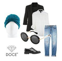 ¡Volvemos con los looks! Hoy es un día soleado, anímate a llevar un look andrógino y compleméntalo con un tocado teal sparkle. #cancer #fashion #turban #turbante
