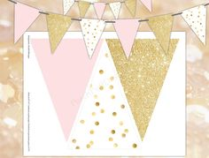 Pink and gold banner INSTANT DOWNLOAD  Polka by PeachPuffDesigns