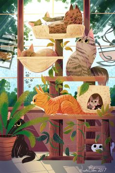 ・・・ Signing off 2017 with this cat café illustration as the last picture I will share the year. This piece is for the… Art And Illustration, Fantasy Character, Cat Drawing, Pretty Art, Animal Drawings, Cat Art, Artwork, Pictures, Identity Branding