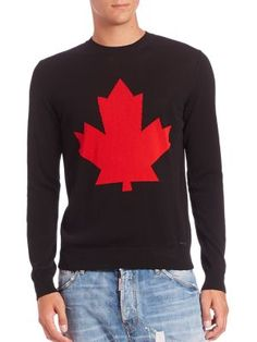DSQUARED2 Maple Leaf Sweater. #dsquared2 #cloth #sweater