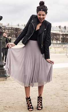 Safia Vendome, Paris Fashion Week, Street Style, Biker Jacket, Pleated Skirts, Bodysuit, Spring, Ghillie Heels | NL Daily